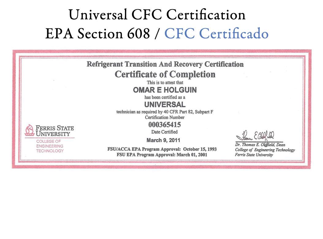 Refrigeration: Epa Refrigeration Certification